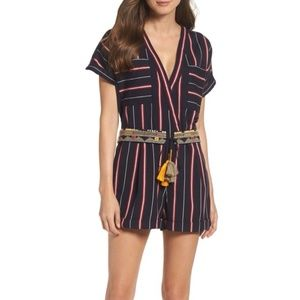 French Connection Striped Romper Shorts